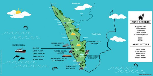 kerala wedding destination map