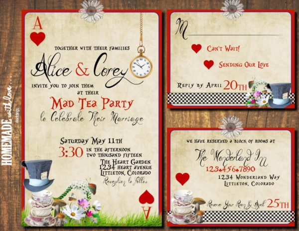 Alice In Wonderland Tea Party Weddings Mad Hatter Wedding Invitation