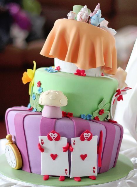 alice in wonderland mad hatter party idea cake 1