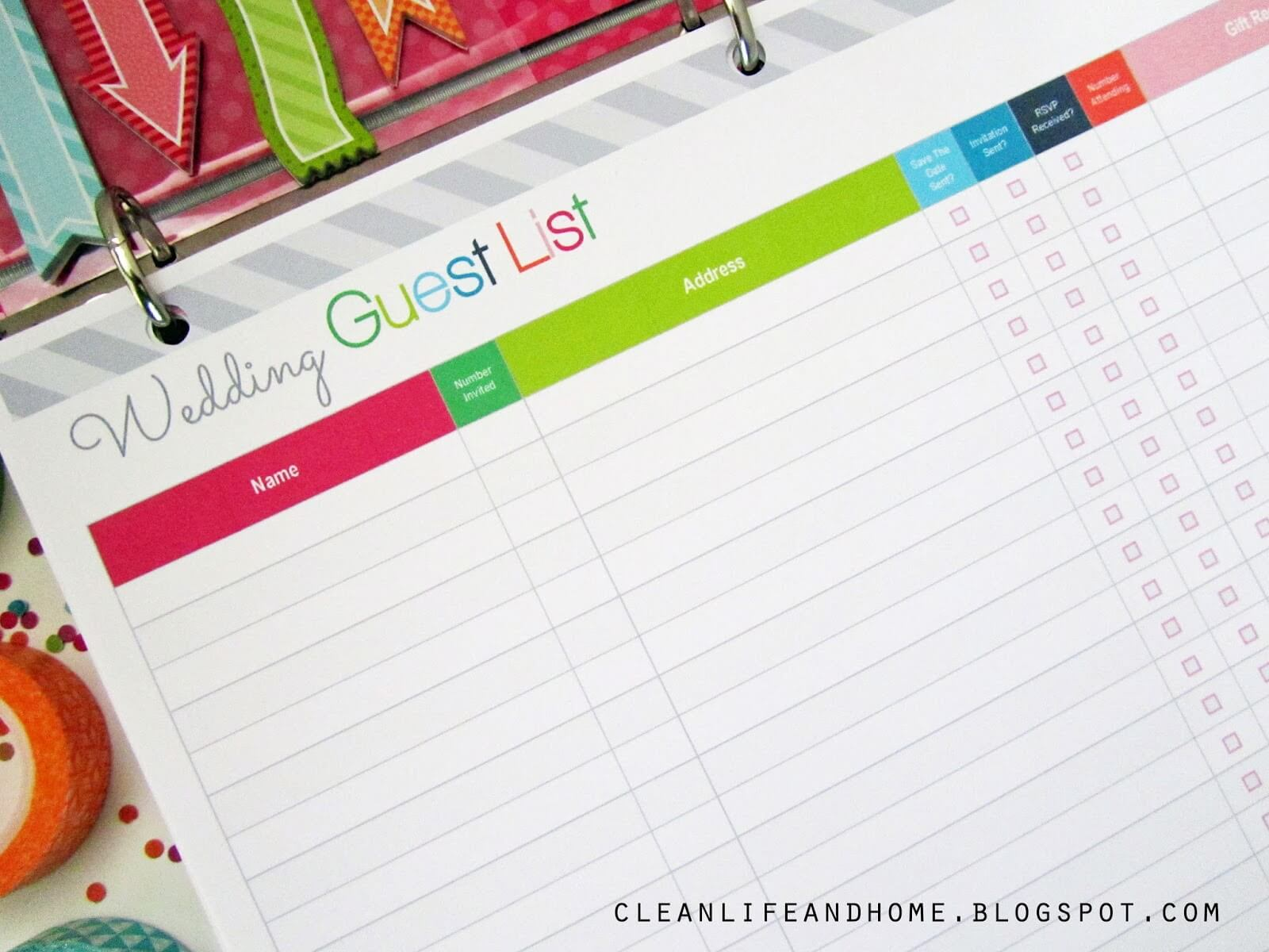 Free Printable Wedding Guest List Planner Page Close Up
