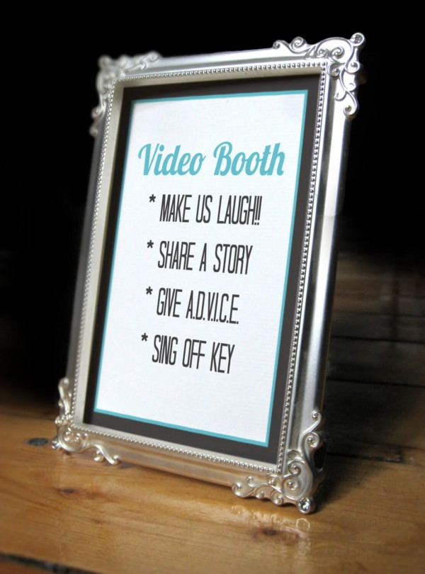 Printable Wedding Video Booth