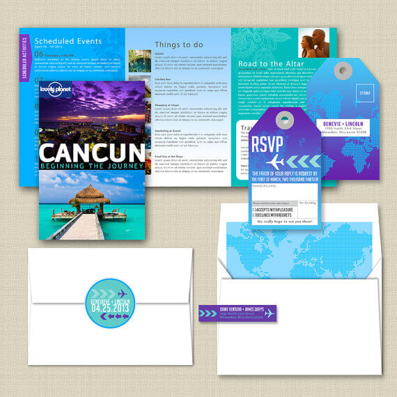 lovely lonely planet themed destination wedding invitation