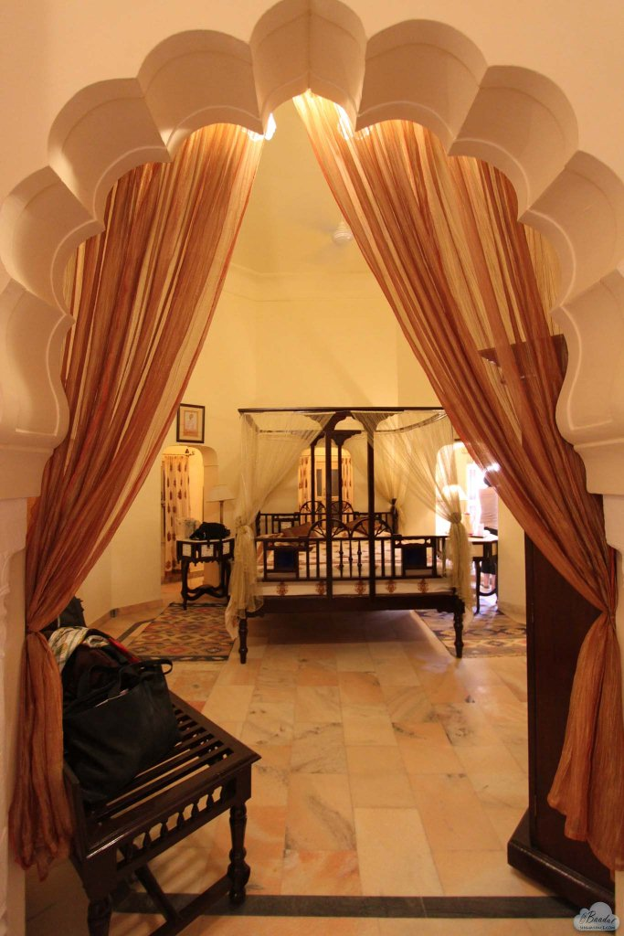 Octagonal Bedroom housed in a turret suite.